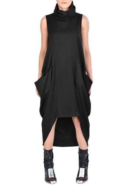 La Haine Asymmetric Funnel Neck Sleeveless Inoya Dress