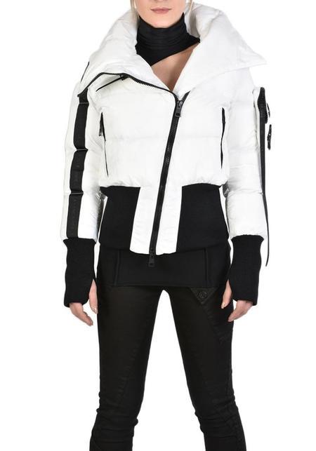 Unisex La Haine High Neck Jila Puffer Bomber Jacket - White/Black