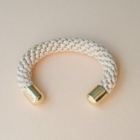 Stella Fluorescent Silk Sea Rope Cuff - Cream White Tea