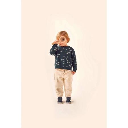 kids tinycottons daisies baby cardigan - dark green/light cream