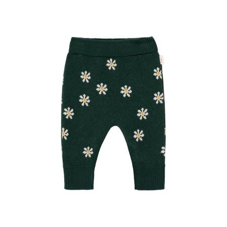 kids tinycottons daisies baby pant - dark green/light cream