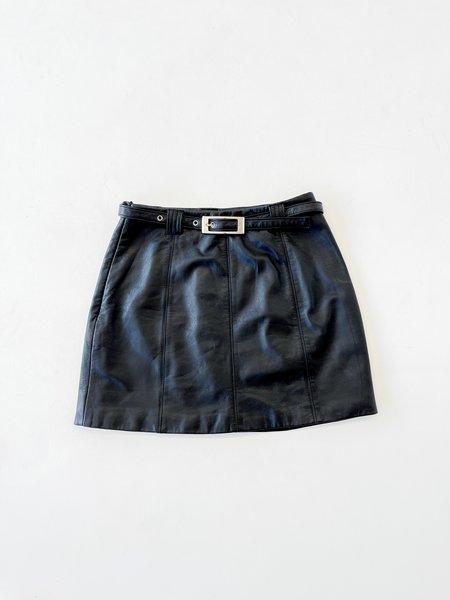 Vintage Black Leather Belted Mini Skirt - Black