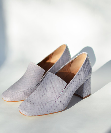 Intentionally Blank Lilac Reptile Franz Heel