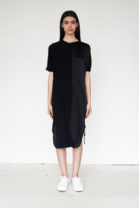 Assembly New York Crepe/Silk Combo Twist Dress
