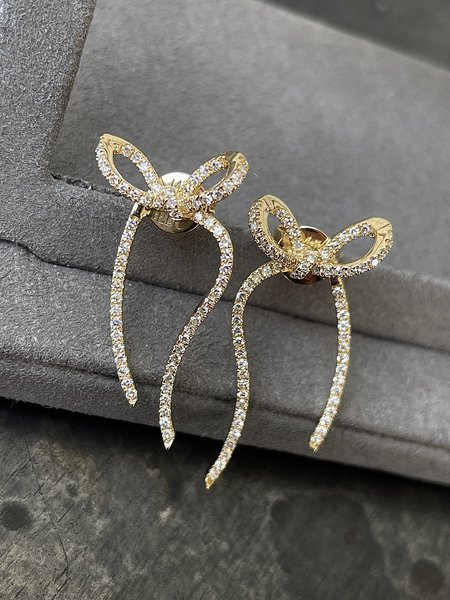 EF Collection Diamond Bow Earring - 14k Yellow Gold