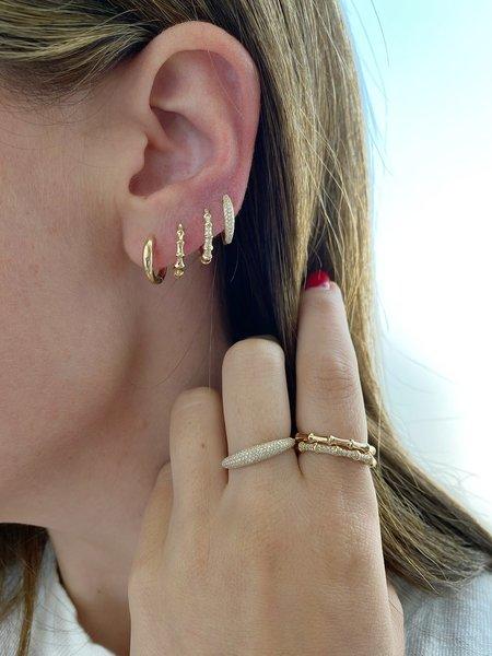 EF Collection Diamond Dome Mini Huggie Earring - 14K YELLOW GOLD