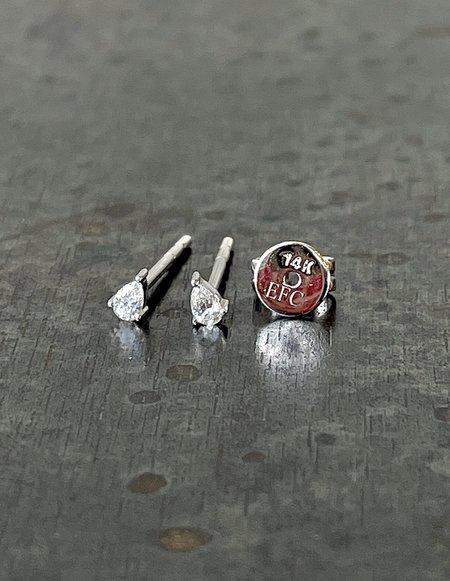 EF Collection Mini Diamond Pear Stud Earring - 14k White Gold