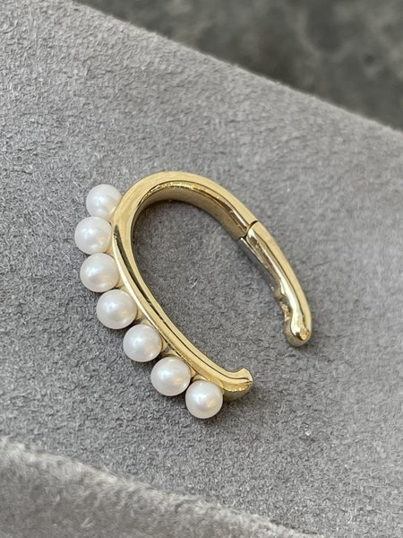 EF Collection No Piercing Pearl Large Ear Cuff - 14k Yellow Gold
