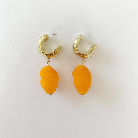 Crescioni Alma Earrings - Orange Glass