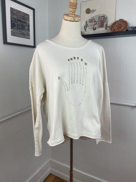 pre-loved Raquel Allegra Hand Sweatshirt - cream