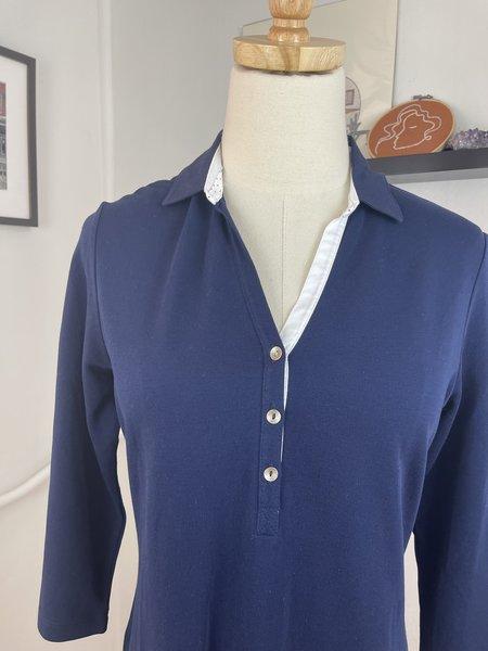 Pre-loved Saint James Navy Collared Dress - navy