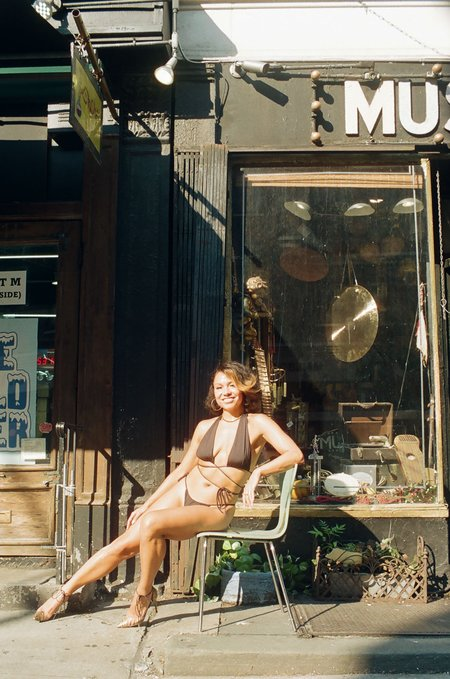 ARIELLE San Pancho String Bikini Top - black