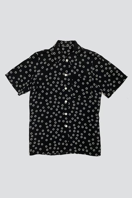 Vintage Rayon Circle Dot Button Up Shirt - black