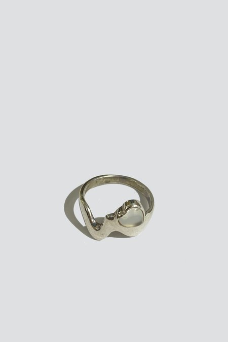 Vintage Wavy Band Heart Ring - Sterling Silver