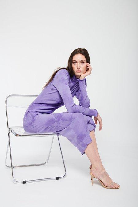 Raquel Allegra Long Sleeve Fitted Tie Dye Dress - Purple Cloud