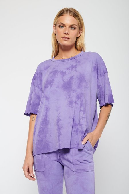 Raquel Allegra Oversized Short Sleeve Tee - Purple Cloud