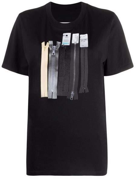 Zipper Graphic Tee in Black by MM6 Maison Margiela