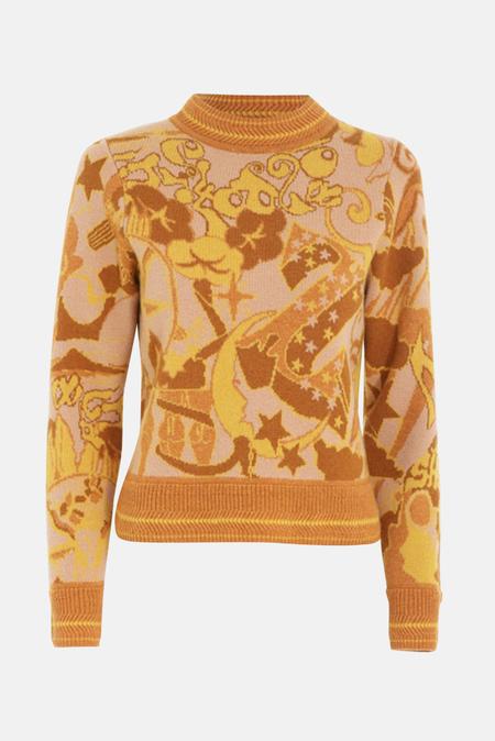 Women's Zimmermann Concert Jacquard Crew Neck Sweater - Gold