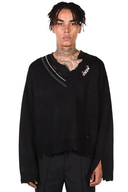 C2H4 Distressed Knit Layered Sweater - Black