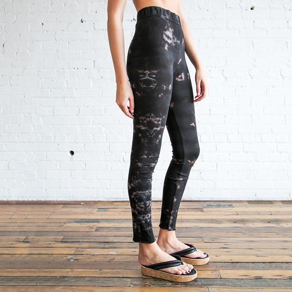 Raquel Allegra Tie Dye Jersey Leggings Black