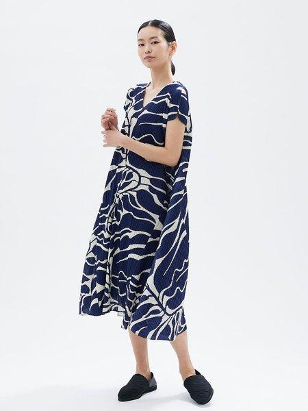 Pleats Please by Issey Miyake Dreaming Leaves Dress - Blue Herbs