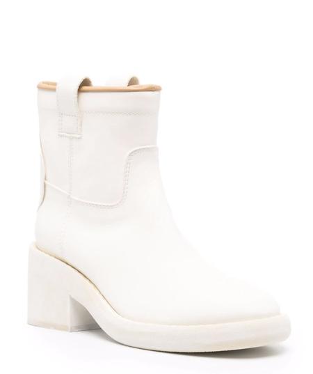 MM6 Maison Margiela Biker Boot - White Painted Leather