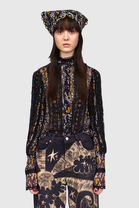 Anna Sui Ditsy Blooms Top - BLACK MULTI