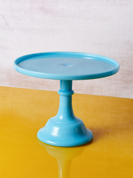 Mosser Glass Milk Glass Cake Stand - BLUE