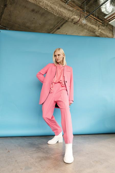 MM6 Maison Margiela Collarless Blazer - Neon Pink