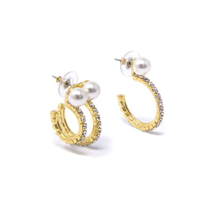 Joomi Lim Pearl Asymmetrical Crystal Hoops Earrings - Brass