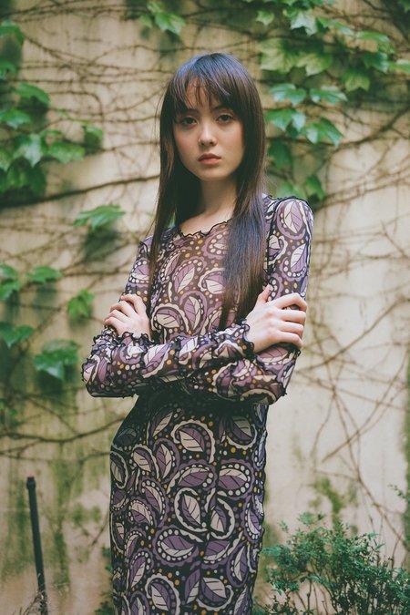Anna Sui Swirling Leaves Mesh Dress - Black Multi