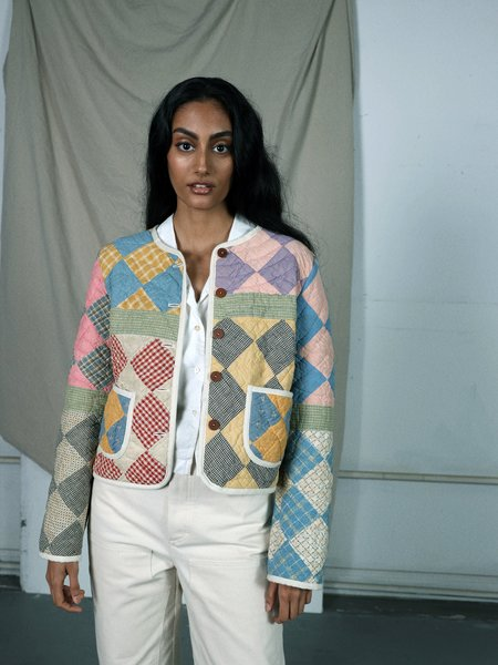 Marvin Ruby Mosaic Sixteen Patch Quilted Jacket