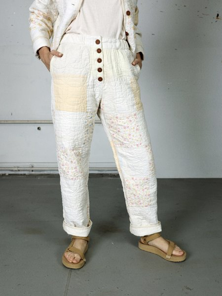 Marvin Ruby Muted Squares Quilted Pant