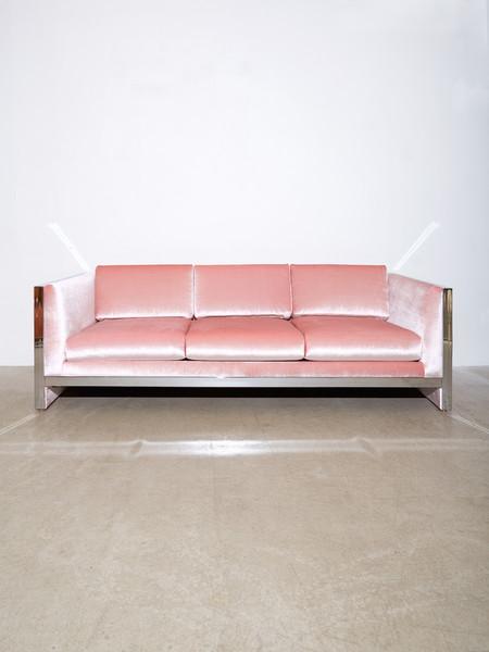 Coming Soon Milo Baughman Chrome & Velvet Sofa