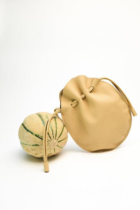Hannah Emile Drawstring Leather Purse Egg Purse - Butter