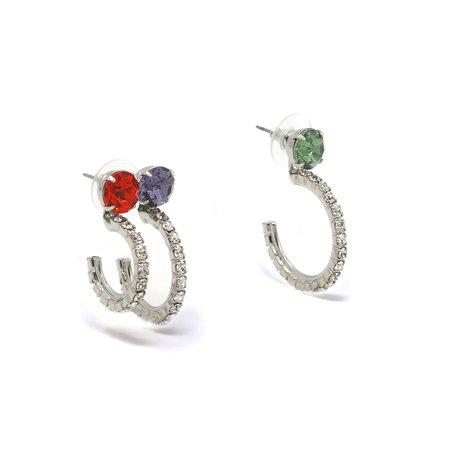 Joomi Lim Crystal w/ Asymmetrical Crystal Hoops Earrings