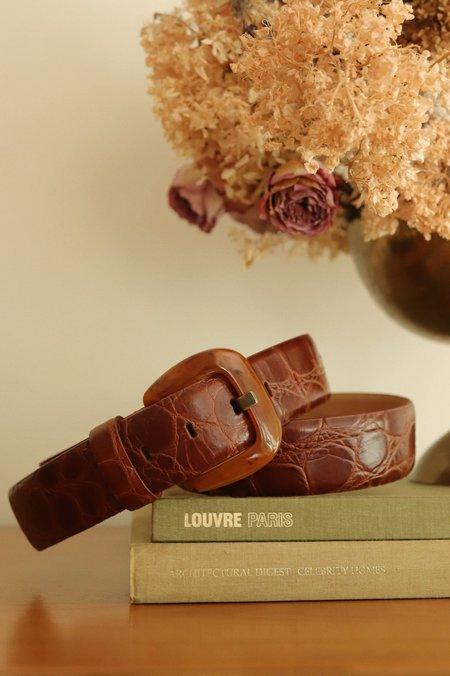 Vintage Keilah Jadlow Italian Leather Belt - Burgundy
