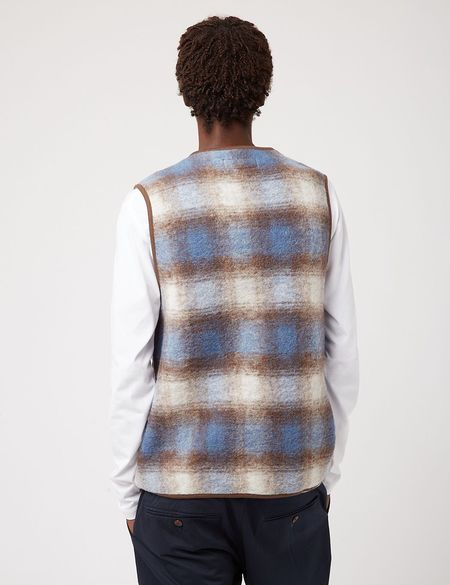 Universal Works Checked Wool Fleece Zip Gilet - Blue/Brown