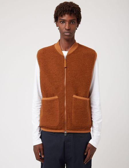 Universal Works Wool Fleece Zip Waistcoat - Brown