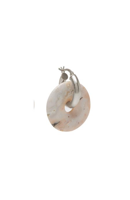 SVNR Earring Pi Rhodonite Mid Hoop