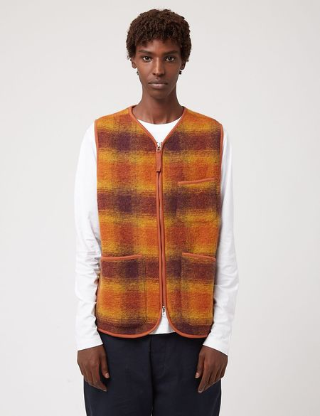 Universal Works Zip Gilet Checked Wool Fleece Vest - Gold/Claret