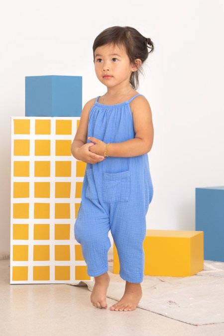 Kids North Of West Double Cloth Jumpsuit - Adriatic