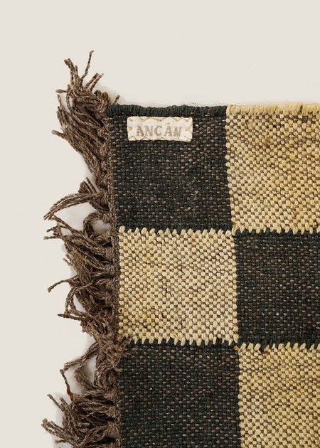 Ancán Checked Rug - deep green / natural beige
