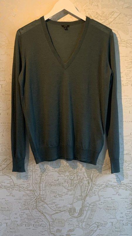 Joseph Cashair V-Neck Long Sleeve Sweater - Dusty Blue/Green