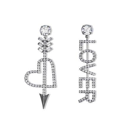 Asymmetrical Crystal Cupid's Heart & Lover Earrings