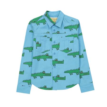 KIDS Hugo Loves Tiki Crocodile Collared Shirt - Blue