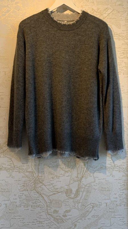 R13 Reversible Crewneck Sweater - Tonal Grey