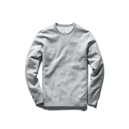 Reigning Champ Mid Weight Drop Shadow Relaxed Fit Crewneck - Heather Grey