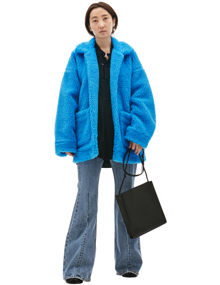 Doublet Painting Print Faux-Shearling Jacket - Light Blue