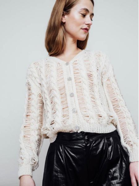 gudrun&gudrun 100% Faroese Wool Needle Sweater - OFF WHITE
